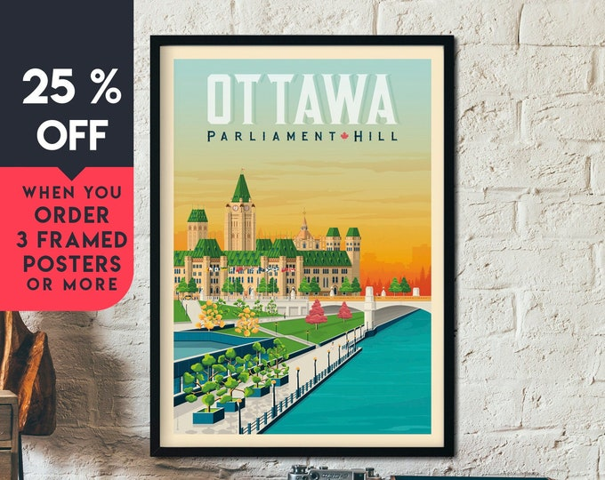 Ottawa Canada Vintage Travel Poster, Framed Wall Art Print, Minimalist, City Skyline, World Map Art, Cityscape illustration, Home Decor