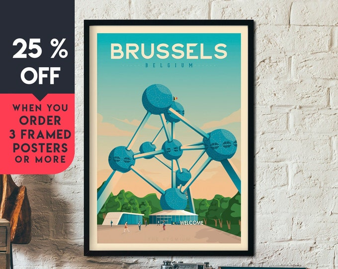 Brussels Print | Brussels Vintage Travel Poster | Belgium Print | Brussels Poster | Belgium Poster | Skyline Wall Art | Home Decor | Gift