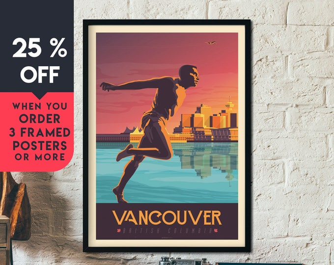 Vancouver Print | Vancouver Vintage Travel Poster | Canada Print | Vancouver Poster | Canada Poster | Skyline Wall Art | Home Decor | Gift