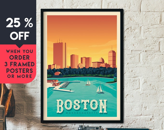 Boston Print | Boston Vintage Travel Poster | United States Print | Boston Sunset Poster | City Skyline Wall Art | Home Decor | Gift
