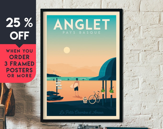 Anglet Print | Anglet Vintage Travel Poster | France Print | Beach Poster | Surf Poster | City Skyline Wall Art | Home Decor | Gift