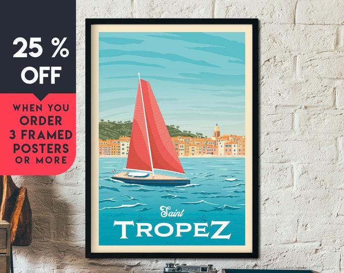 Saint Tropez France Vintage Travel Poster, Framed Wall Art Print, Minimalist, Skyline, World Map Art, Beach Sailing illustration, Home Decor