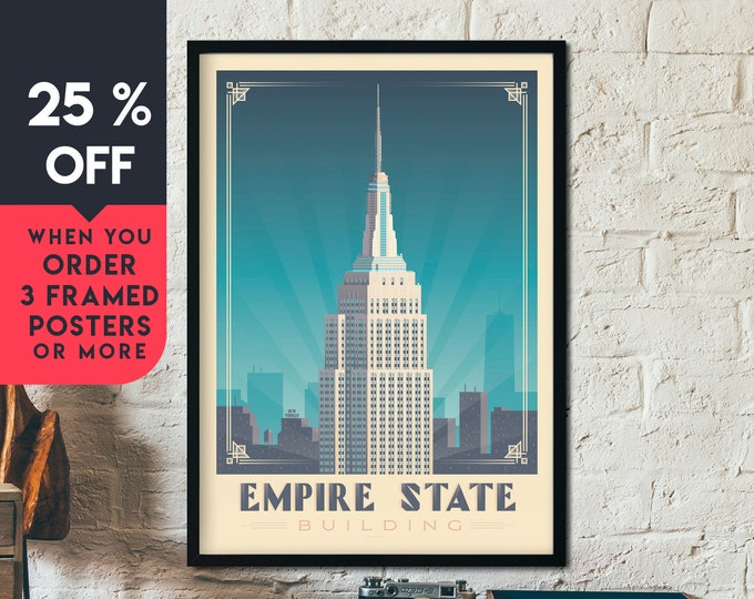 New York City Vintage Travel Poster, Framed Wall Art Print, Minimalist, City Skyline, World Map Art, Cityscape NYC illustration, Home Decor