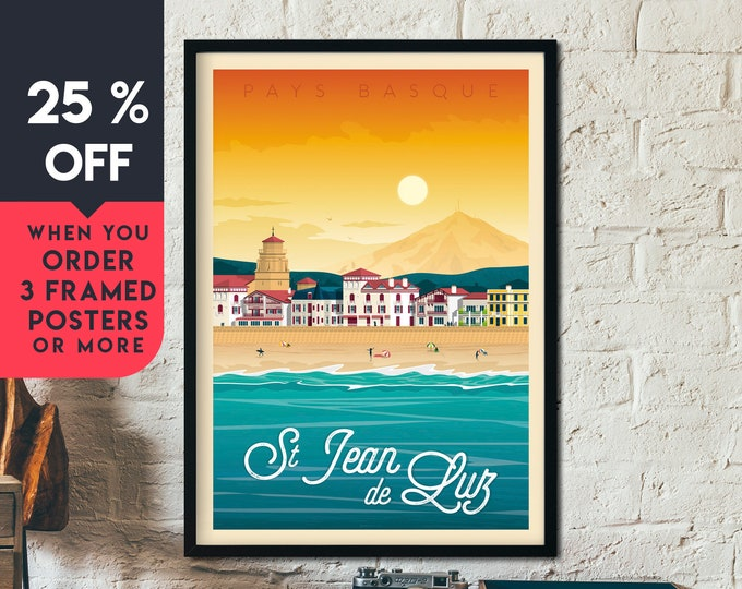 Saint Jean de Luz Print | St Jean de Luz Vintage Travel Poster | France Print | Beach Poster | City Skyline Wall Art | Home Decor | Gift