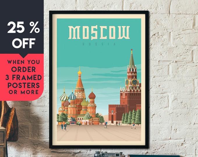Moscow Russia Vintage Travel Poster, Framed Wall Art Print, Minimalist, City Skyline, World Map Art, Cityscape illustration, Home Decor