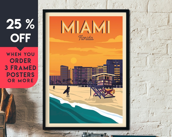 Miami Beach Florida Vintage Travel Poster, Framed Wall Art Print, Minimalist, Skyline, World Map Art, Tropical Surf illustration, Home Decor
