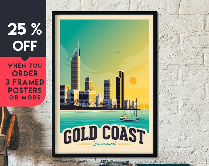 Gold Coast Beach Print | Gold Coast Vintage Travel Poster | Australia Print | Australia Poster | Skyline Wall Art | Home Decor | Gift