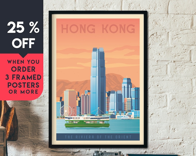 Hong Kong Asia Vintage Travel Poster, Framed Wall Art Print, Minimalist, City Skyline, World Map Art, Cityscape illustration, Home Decor