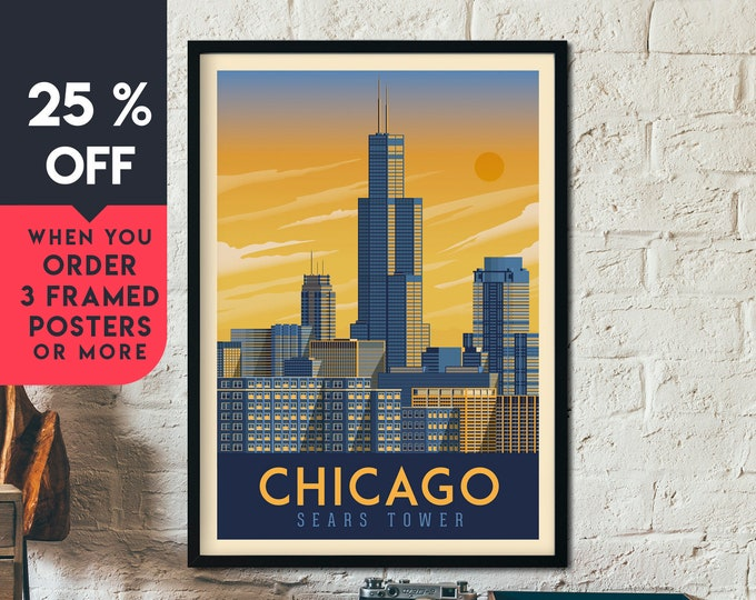 Chicago Illinois Vintage Travel Poster, Framed Wall Art Print, Minimalist, City Skyline, World Map Art, Cityscape illustration, Home Decor