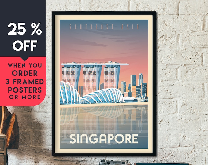 Singapore Asia Vintage Travel Poster, Framed Wall Art Print, Minimalist, City Skyline, World Map Art, Cityscape illustration, Home Decor