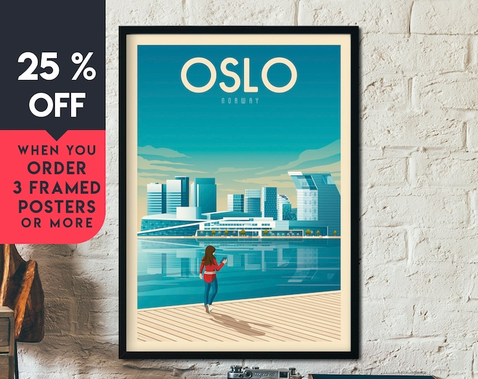 Oslo Norway Vintage Travel Poster, Framed Wall Art Print, Minimalist, City Skyline, World Map Art, Cityscape Norway illustration, Home Decor