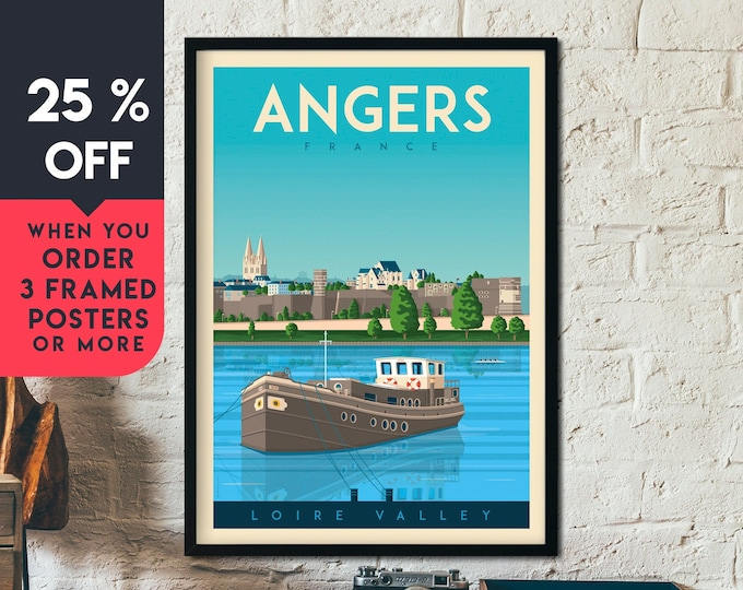 Angers Print | Angers Vintage Travel Poster | France Print | Angers Poster | France Poster | City Skyline Wall Art | Home Decor | Gift