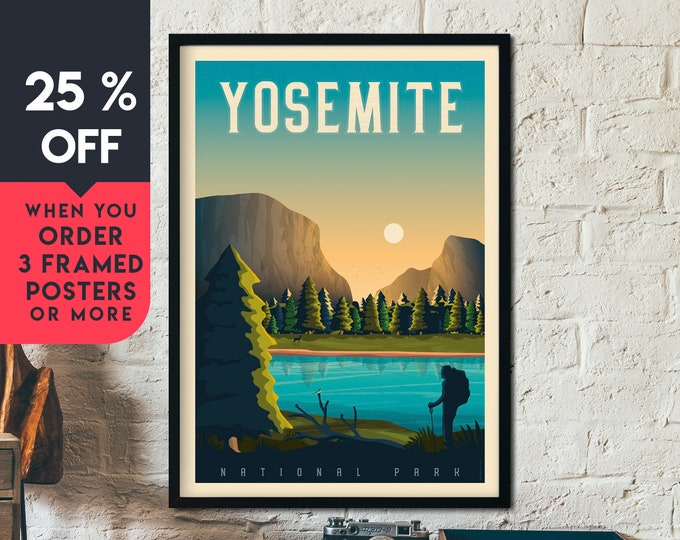Yosemite Print | Yosemite Vintage Travel Poster | National Park Print | Yosemite Poster | City Skyline Wall Art | Home Decor | Gift