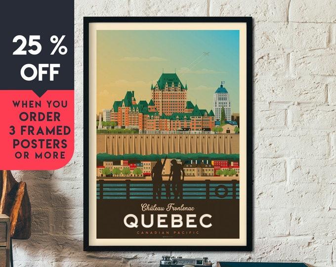 Quebec Canada Vintage Travel Poster, Framed Wall Art Print, Minimalist, City Skyline, World Map Art, Cityscape illustration, Home Decor