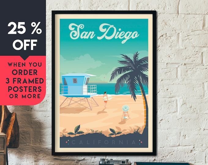 San Diego California Vintage Travel Poster, Framed Wall Art Print, Minimalist, Skyline, World Map Art, Beach Surf illustration, Home Decor