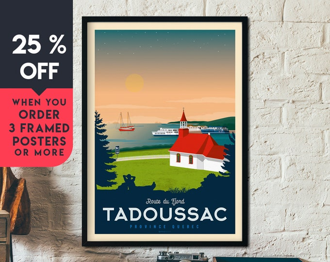 Tadoussac Canada Vintage Travel Poster, Framed Wall Art Print, Minimalist, City Skyline, World Map Art, Nature illustration, Home Decor