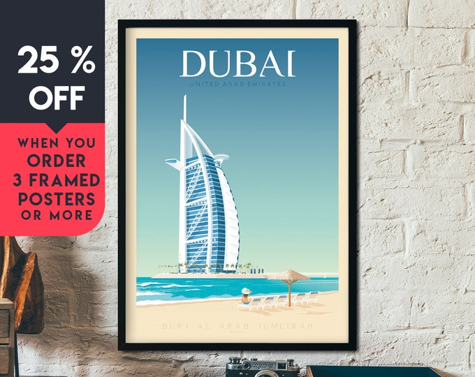 Dubai UAE Vintage Travel Poster, Framed Wall Art Print, Minimalist, City Skyline, World Map Art, Beach Tropical illustration, Home Decor