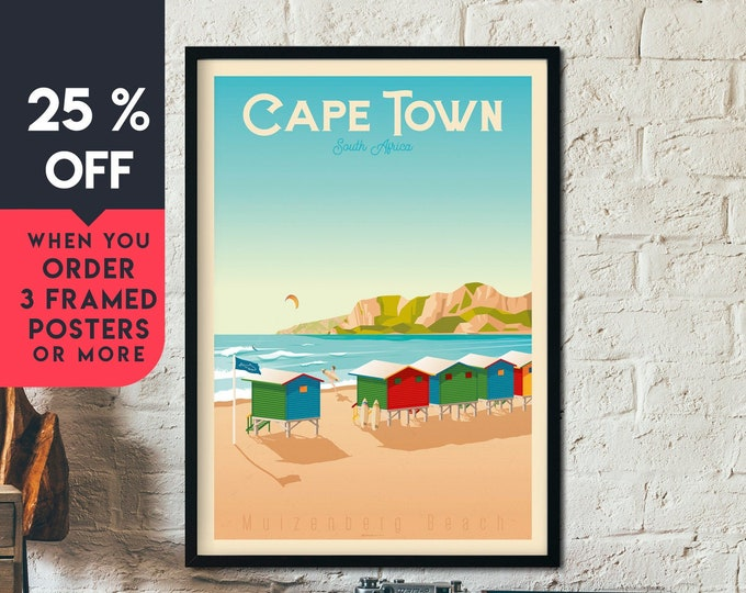 Cape Town Vintage Travel Poster, Framed Wall Art Print, Minimalist, City Skyline, World Map Art, Beach Tropical illustration, Home Decor
