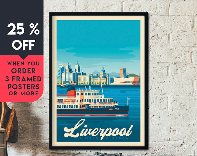 Liverpool Print | Liverpool Vintage Travel Poster | England Print | UK Poster | Liverpool Poster | City Skyline Wall Art | Home Decor | Gift