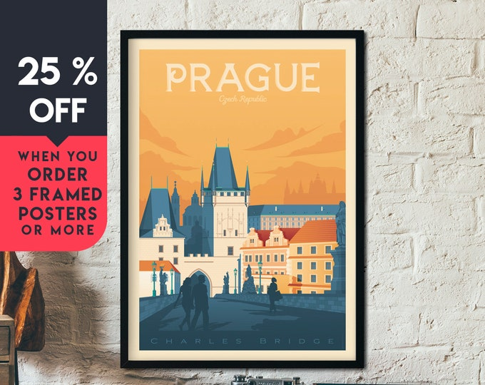 Prague Czech Republic Vintage Travel Poster, Framed Wall Art Print, Minimalist, City Skyline, World Map Art, Retro illustration, Home Decor