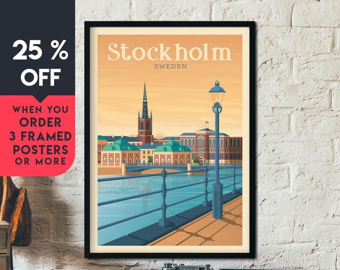 Stockholm Sweden Vintage Travel Poster, Framed Wall Art Print, Minimalist, City Skyline, World Map Art, Cityscape illustration, Home Decor