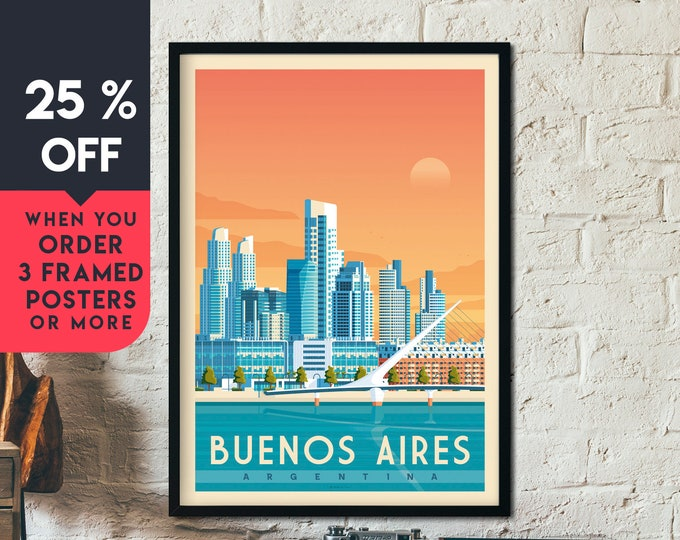 Buenos Aires Argentina Vintage Travel Poster, Framed Wall Art Print, Minimalist, City Skyline, World Map Art, illustration, Home Decor