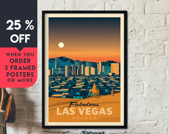 Las Vegas Nevada Vintage Travel Poster, Framed Wall Art Print, Minimalist, City Skyline, World Map Art, Cityscape illustration, Home Decor