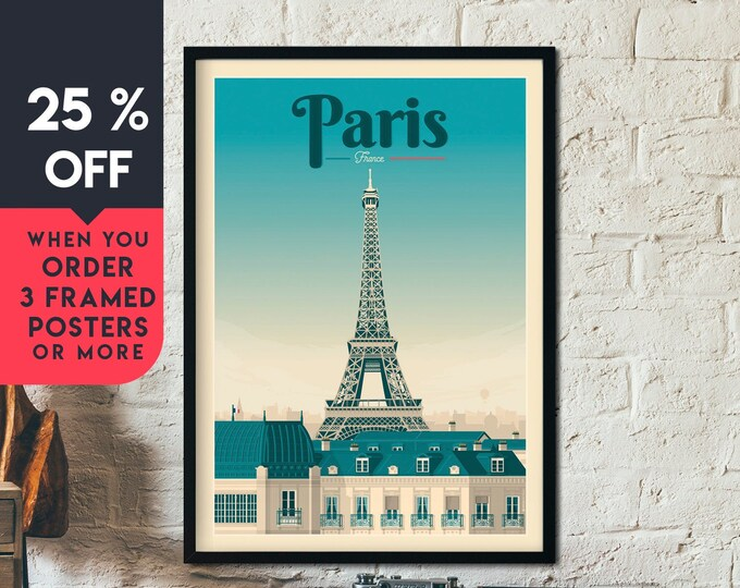 Paris Print | Paris Vintage Travel Poster | France Print | Paris Poster | Romantic Poster | City Skyline Wall Art | Home Decor | Gift
