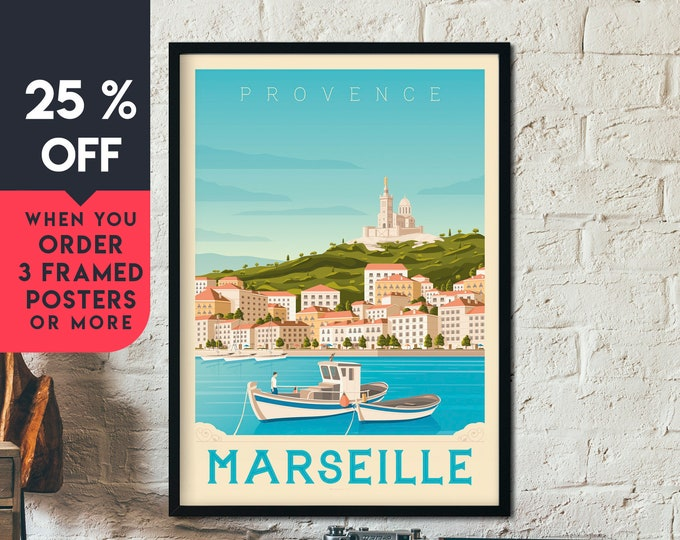 Marseille France Vintage Travel Poster, Framed Wall Art Print, Minimalist, City Skyline, World Map Art, Cityscape illustration, Home Decor