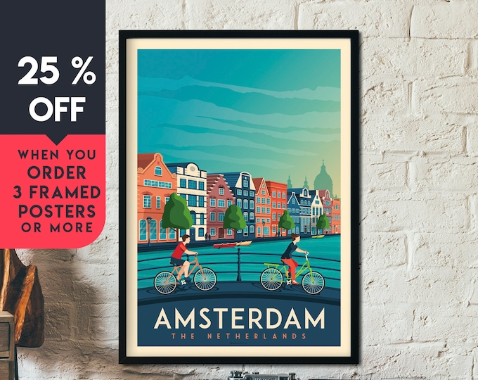 Amsterdam Print | Amsterdam Vintage Travel Poster | Netherlands Print | Amsterdam Poster | City Skyline Wall Art | Home Decor | Gift