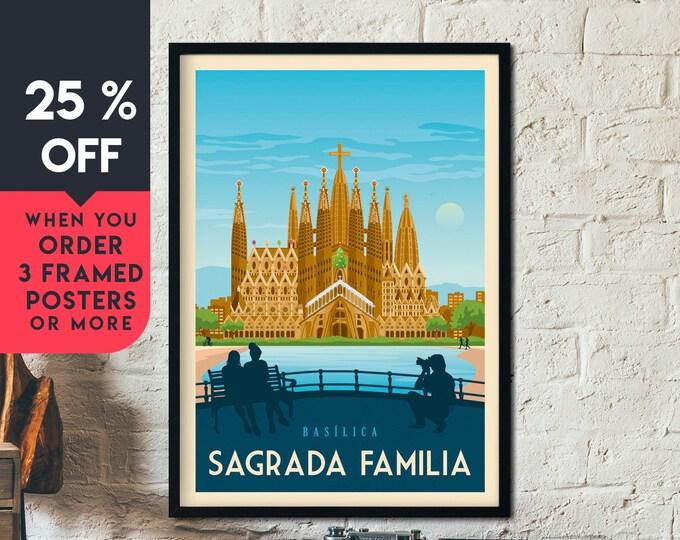 Barcelona Spain Vintage Travel Poster, Framed Wall Art Print, Minimalist, City Skyline, World Map Art, Cityscape illustration, Home Decor