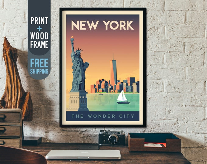 New York City vintage Travel Poster, New York Skyline framed poster, USA wall art, home decoration, wall decoration, gift idea, retro print