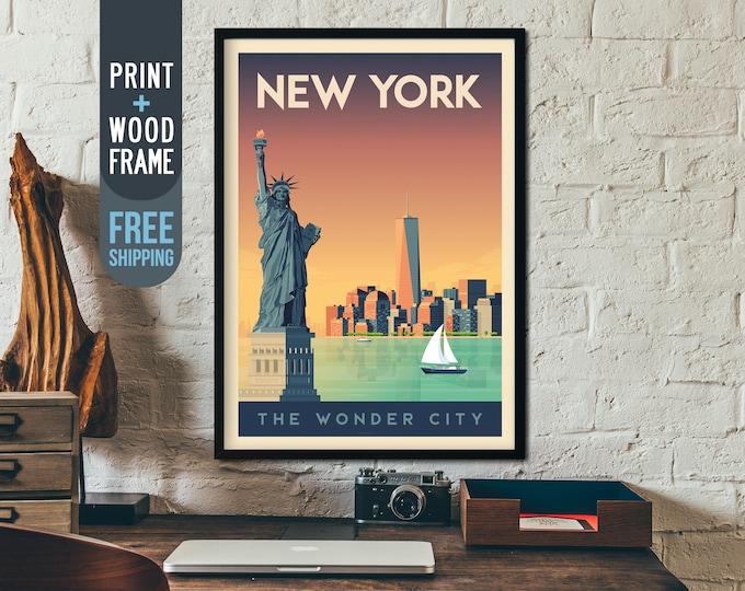 New York City vintage Travel Poster, New York Skyline framed poster, USA wall art, home decoration, wall decoration, gift idea, retro print