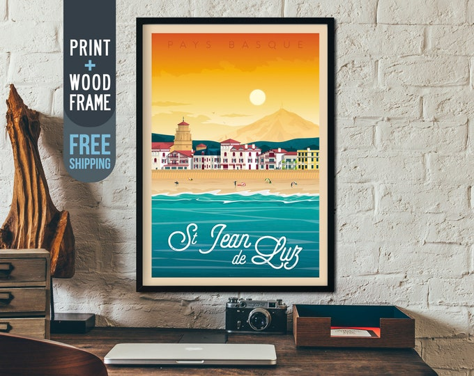 Saint Jean de Luz Travel Poster - France Vintage framed Poster, vintage print, Beach wall art, home decoration, art deco, french decoration