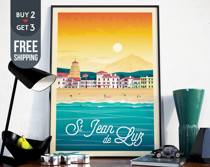 Saint Jean de Luz Travel Poster - Vintage Basque Country Poster,France print, Surf Beach sky sea wall art, home wall decoration, gift idea
