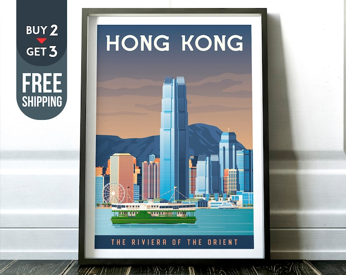 Hong Kong China Vintage Travel Poster, Hong Kong City print, Asia wall art, Asia home decor, Hong Kong skyline, Asia travel decor, Asia gift