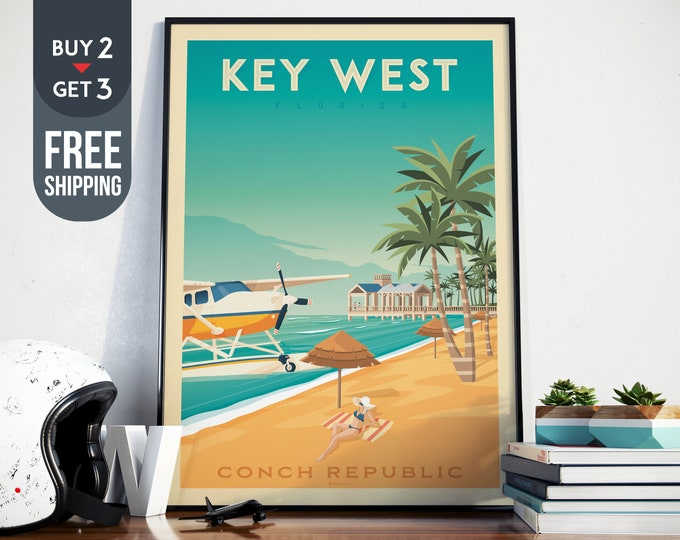 Key West Florida Travel Poster, Vintage Florida Keys USA print, USA wall art, beach home decor, surf wall decoration, Tropical travel decor