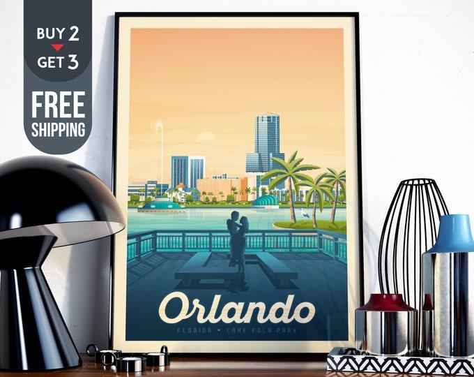 Orlando Florida Travel Poster, Vintage Orlando USA print, Orlando wall art home decor, Orlando City illustration decoration, Tropical decor
