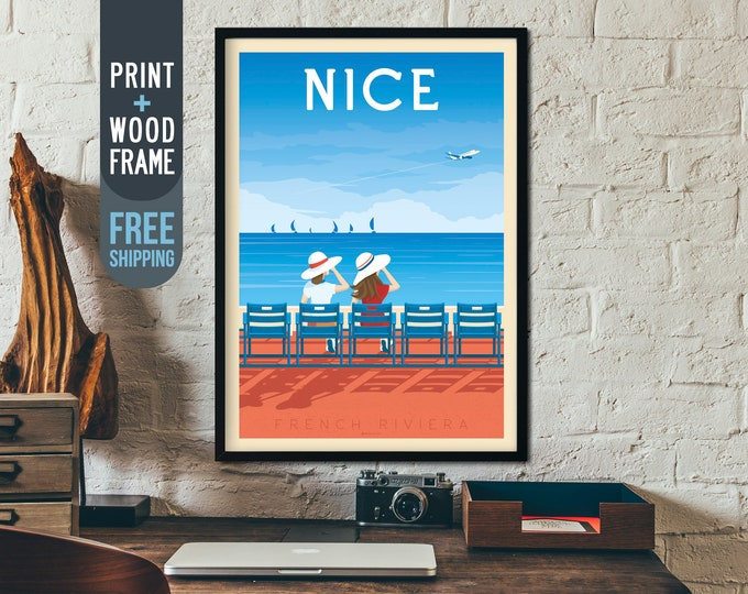 Nice France Travel Poster - Nice French Riviera retro print, Beach Ocean Sea wall art, home decoration, Nice art deco print, framed poster