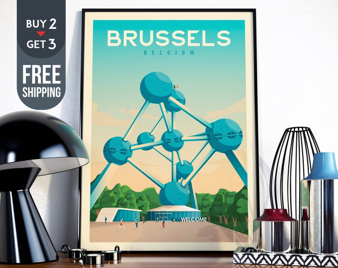 Brussels Belgium Vintage Travel Poster - Brussels Retro wall art print - Brussels artistic Map signs design, interior home decor, gift idea