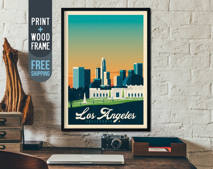 Los Angeles California USA - Vintage Travel Poster, framed poster, wall art, home decoration, wall decoration, gift idea, retro print