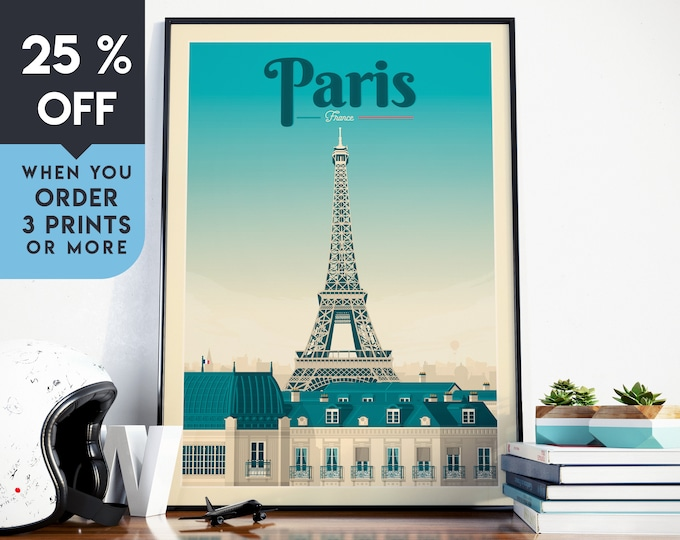 Paris France Vintage Travel Poster, Paris Wall Art Print, Minimalist, City Skyline, World Map Art, Cityscape illustration, Home Decor, Gift