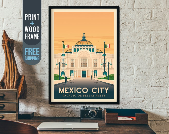 Mexico City Print - Mexico Vintage Travel Poster, framed poster, Mexico wall art, home decoration, wall decoration, gift idea, retro print