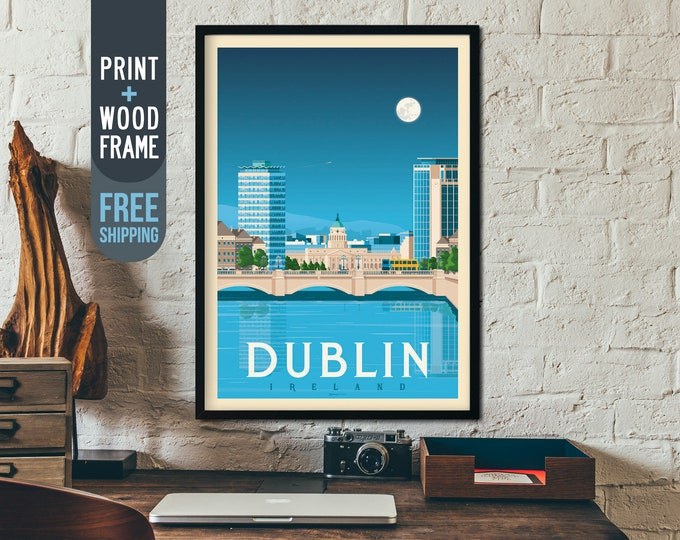 Dublin Ireland Framed Print - Vintage Dublin Ireland Travel Poster, framed poster, wall art, home decoration, wall decoration, gift idea