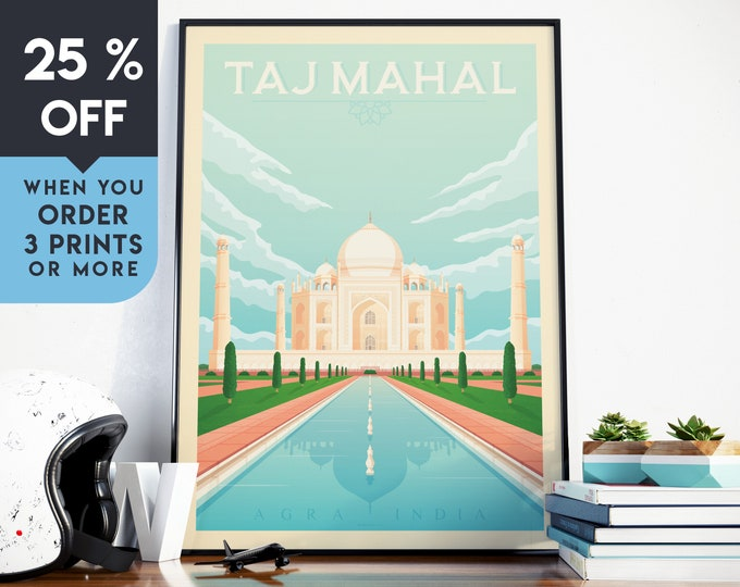 Taj Mahal India Vintage Travel Poster, Wall Art Print, Minimalist, City Skyline, World Map Art, Wanderlust illustration, Home Decor, Gift