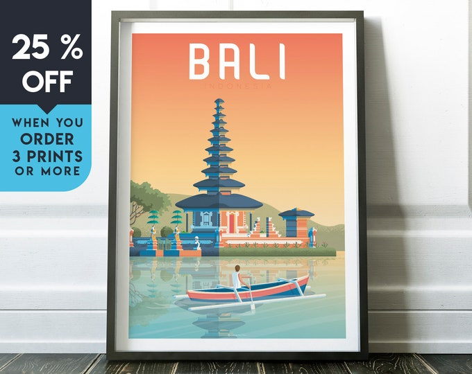 Bali Indonesia Vintage Travel Poster, Wall Art Print, Minimalist, City Skyline, World Map Art, Tropical Asia illustration, Home Decor, Gift