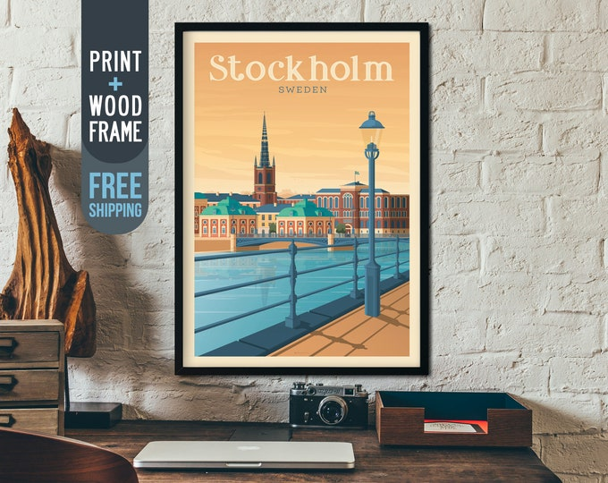 Stockholm Sweden Vintage Travel Poster, Stockholm Sweden framed poster, Stockholm wall art, Scandinavian home wall decoration, gift idea