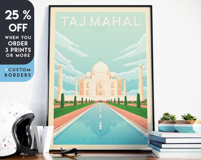 Taj Mahal Print | Taj Mahal Vintage Travel Poster | India Print | India Poster | Asia Poster | Skyline Wall Art | Home Decor | Gift