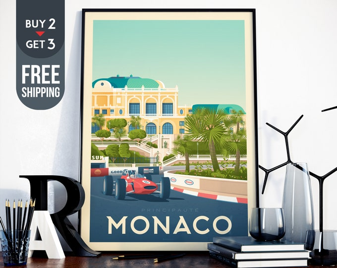 Monaco France Travel Poster - Monaco vintage print, Monaco vintage Racing car Skyline wall art, French Riviera home decoration, art decor
