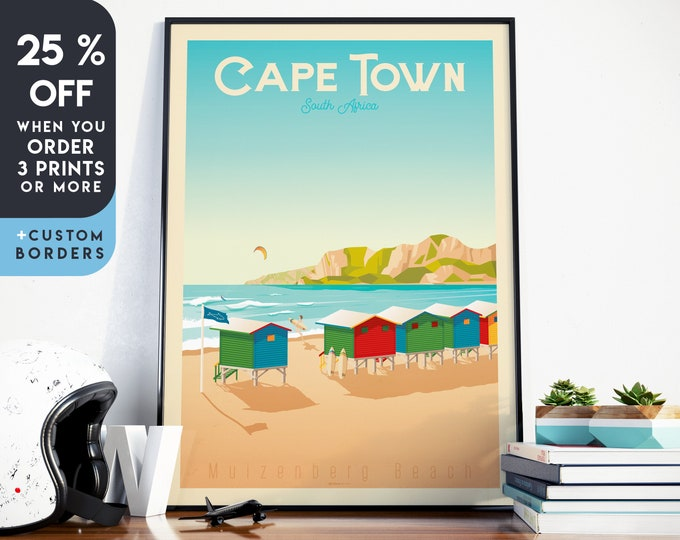 Cape Town Print | Cape Town Vintage Travel Poster | South Africa Print | Cape Town Poster | Cape Town Skyline Wall Art | Home Decor | Gift